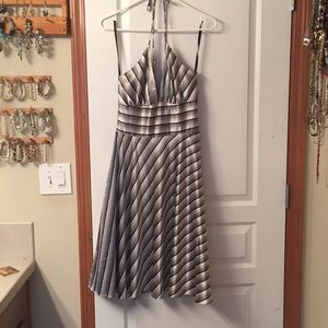 Cute halter sundress with black and white stripes
